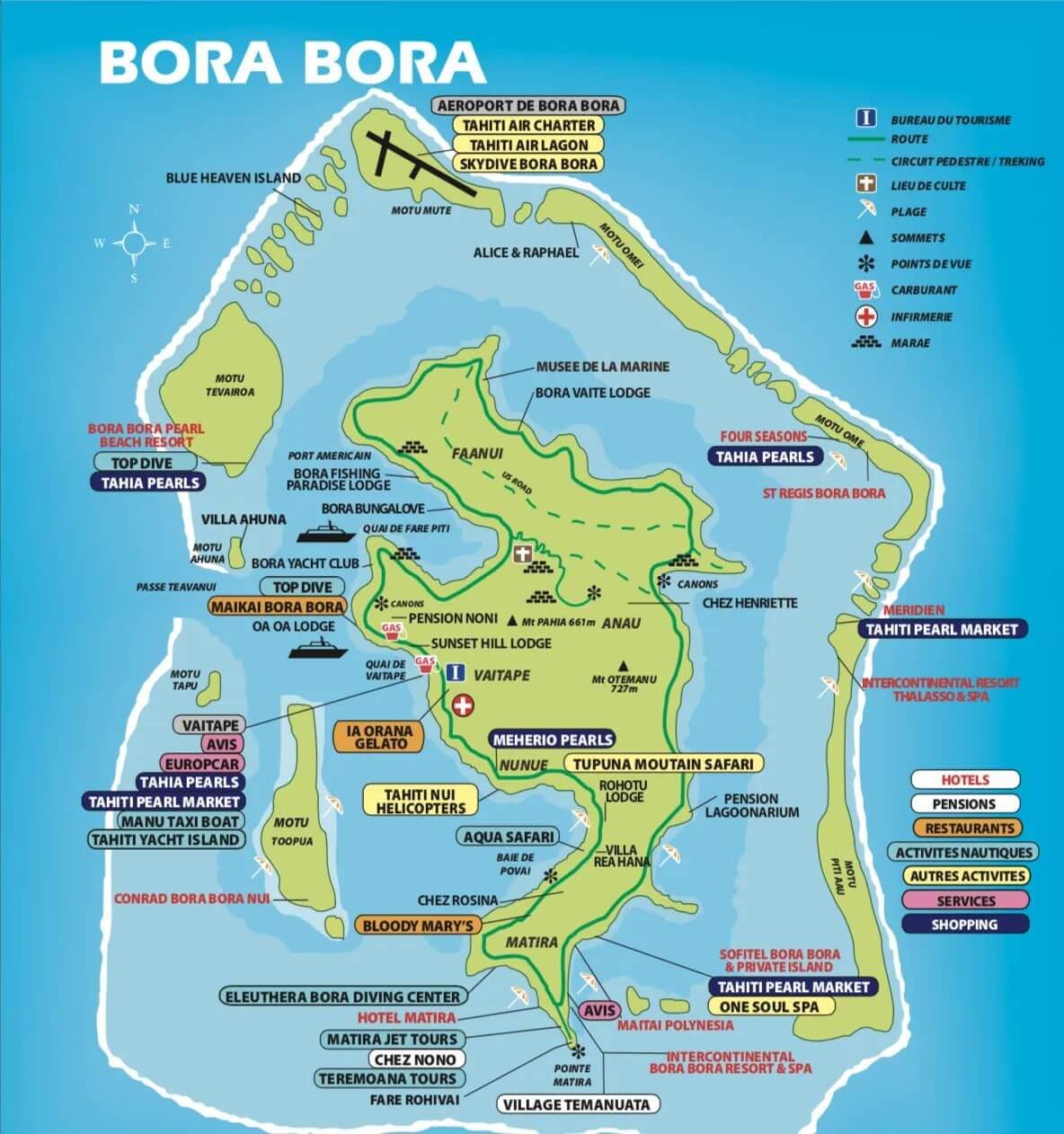 carte de bora bora en polynésie