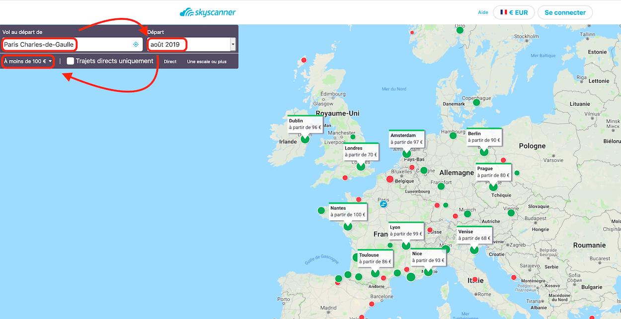carte de recherche sur skyscanner