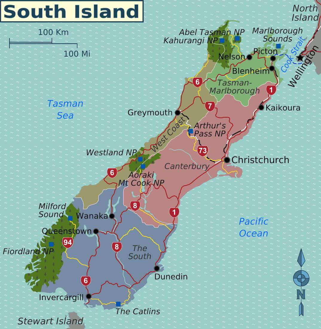new zealand south island map