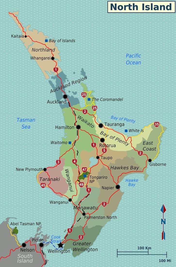 new zealand map road trip north island