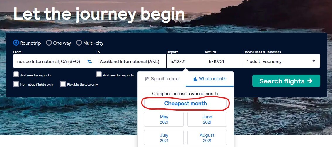 looking for the cheapest month on skyscanner
