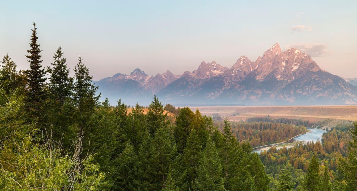 Vue sur les montagnes du parc national de grand teton