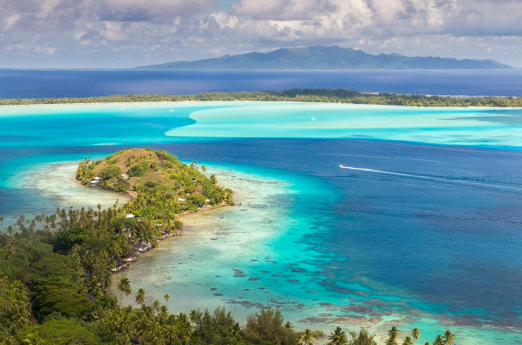 bora bora from above in the leeward islands
