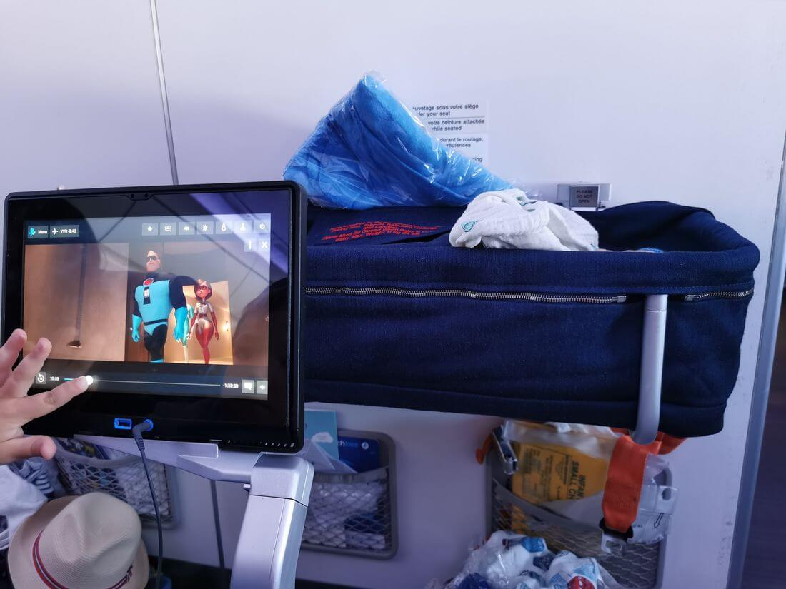 bassinet and baby in the plane