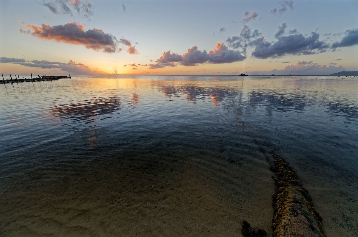 sunset in front of the lodge in raiatea