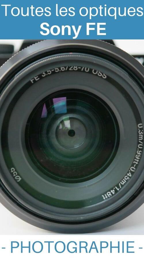 Liste objectifs Sony FE photo