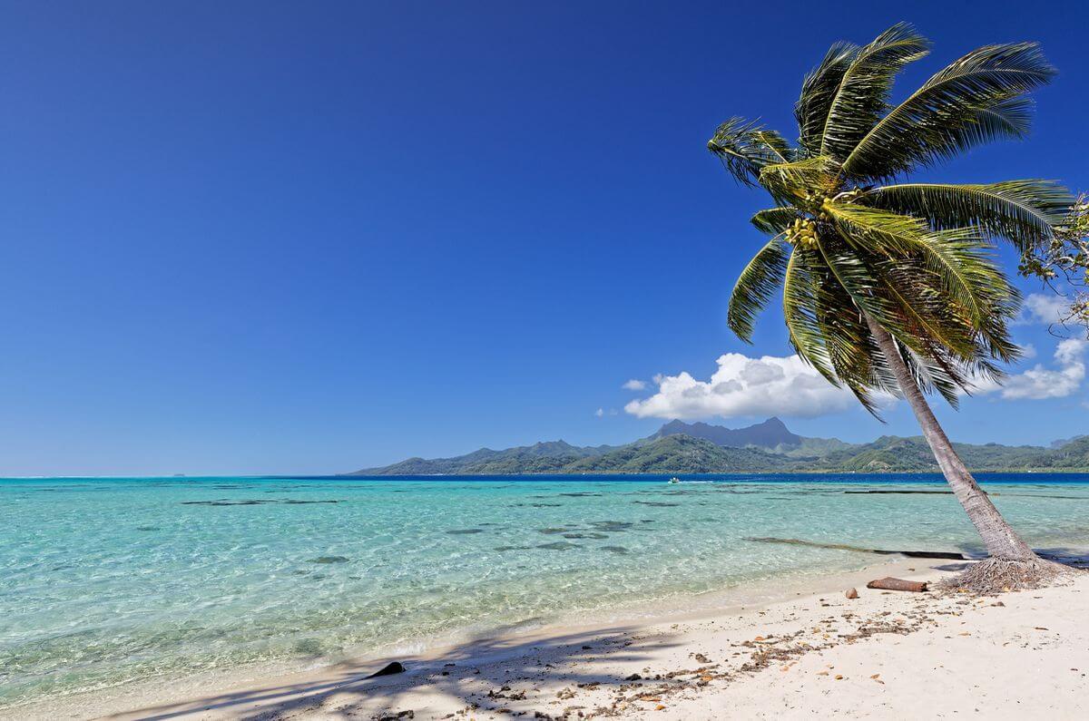 beach on the motu of raiatea