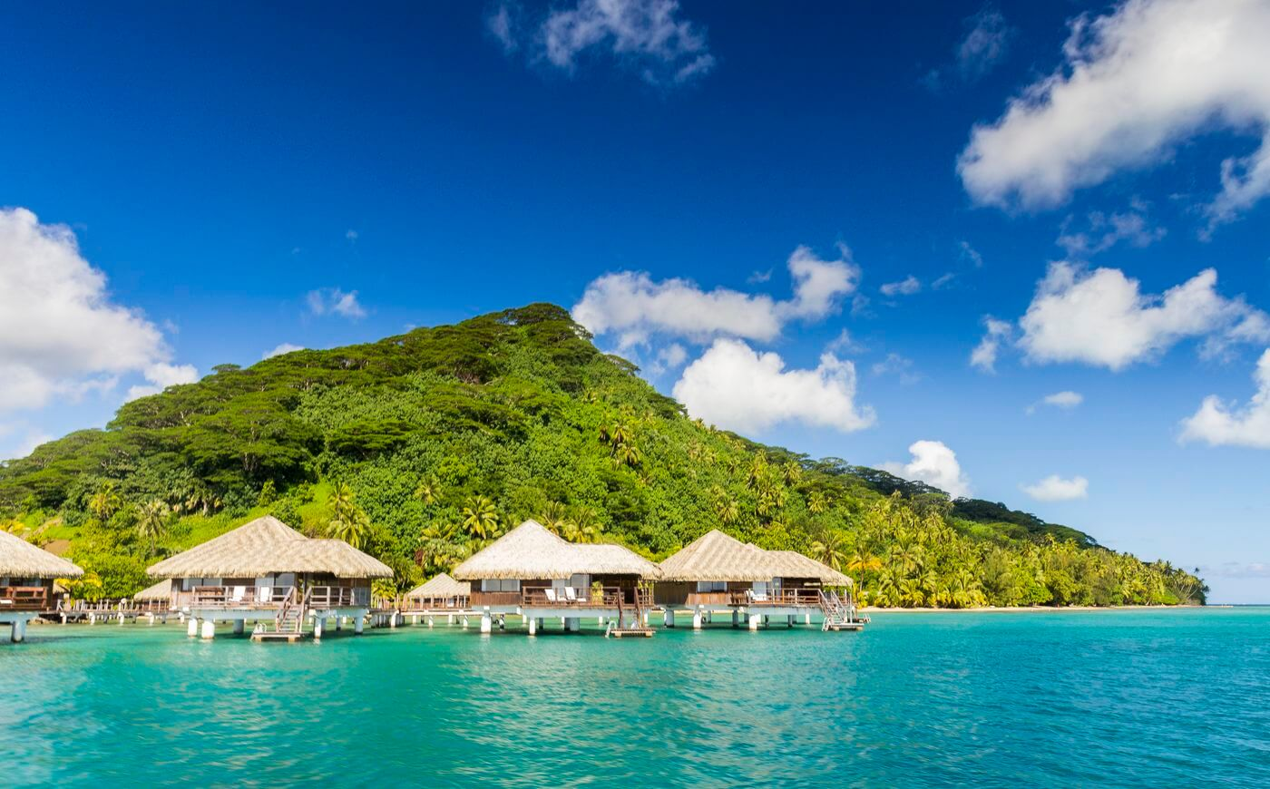 Overwater bungalows in Huahine