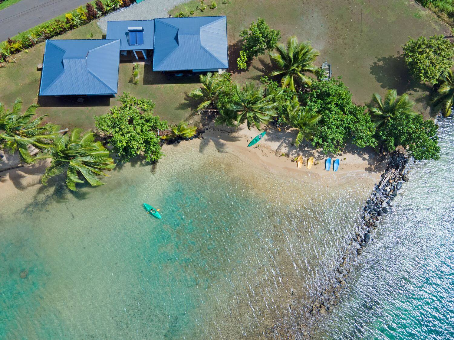 aerial view of beach coconut lodge