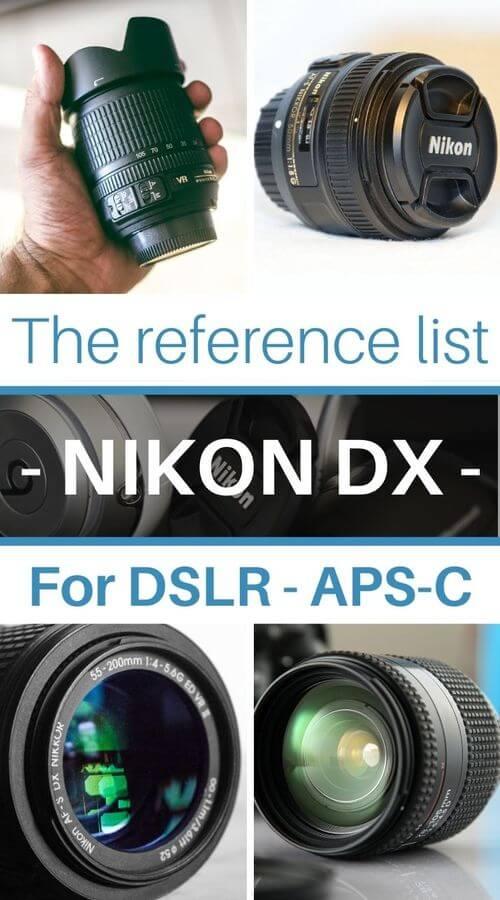 Nikon DX lenses list for Nikon F