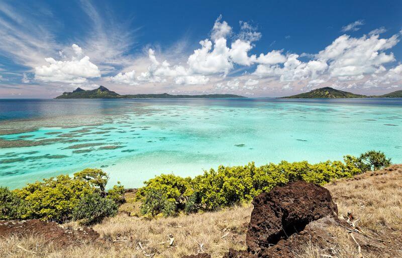 Ilot des Gambier et son lagon bleu turquoise