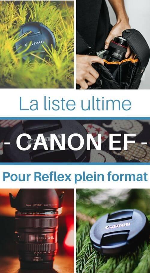 liste objectif canon EF reflex plein format