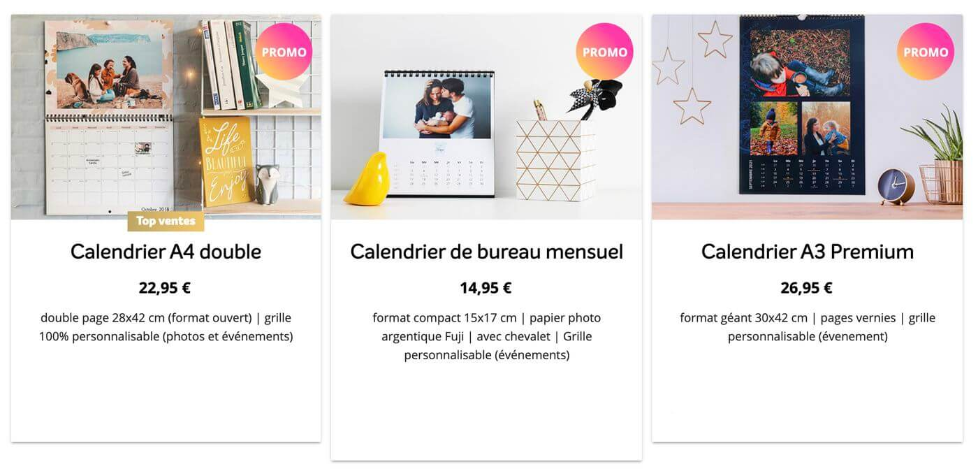 exemple calendrier photoweb